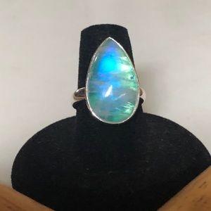 Pretty Girl Swag Jewelry Jewelry - Spectacular .925 Green Rainbow Moonstone Ring>Sz 7
